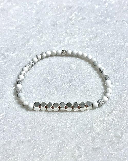 Howlite + Silver Hematite Stretch Bracelet B367-SS