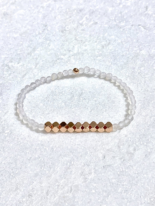 White Agate + Rose Gold Hematite Stretch Bracelet B087-RG