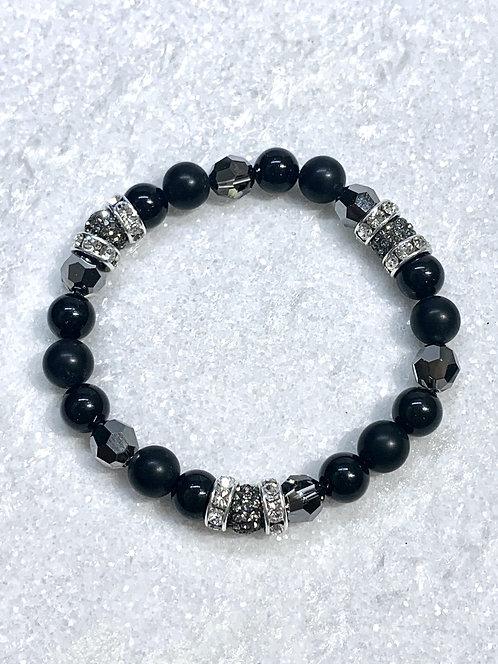 Triple Black Diamond Pave' Ball & Black Agate St Bracelet B332-SS