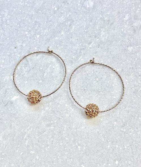 RG Sparkle Hoops/RG Pave' Balls Earrings E082-RG