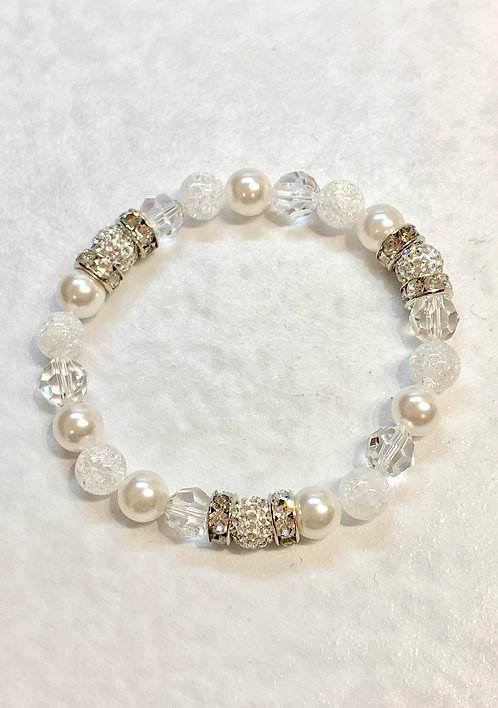 Triple Crystal Pave' Ball & White Pearl Bracelet B183-SS