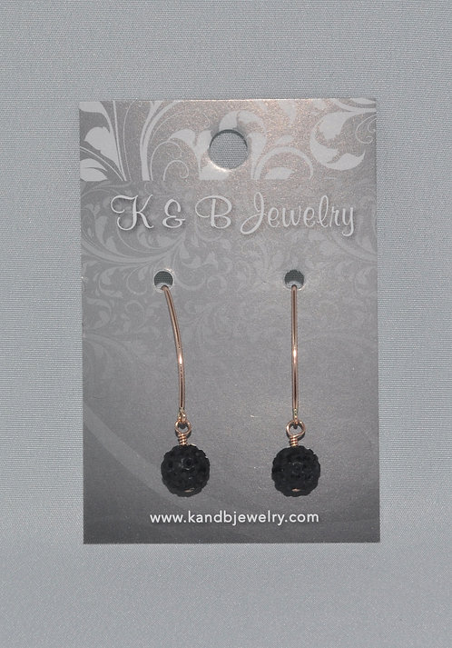 Black Pave' Ball Earrings  E014-RG