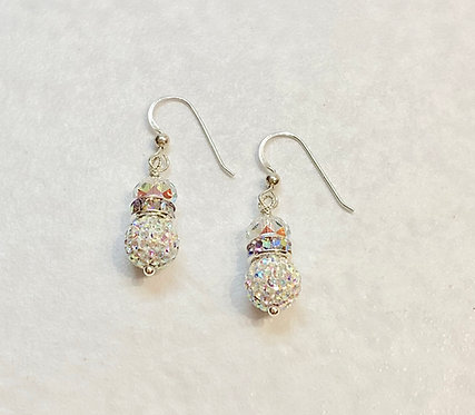 AB Pave' Ball Drop Earrings ESB042-SS