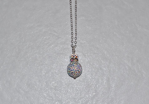 Aurora Borealis Pave' Ball Necklace NL093-SS