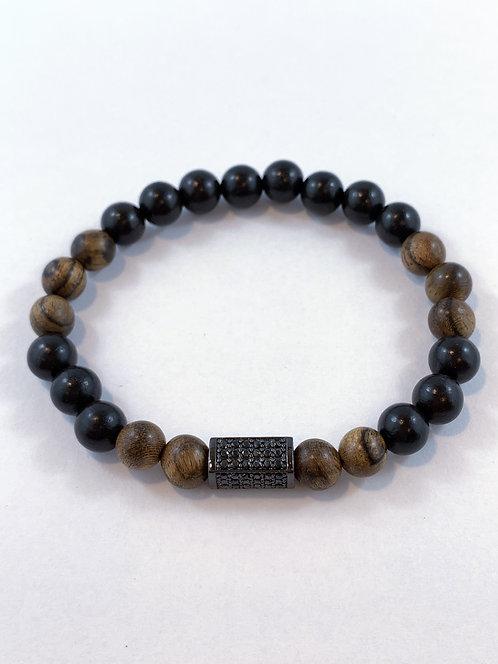 Men's Tiger Skin & Bk Sandlewood Stretch Bracelet B350-SS