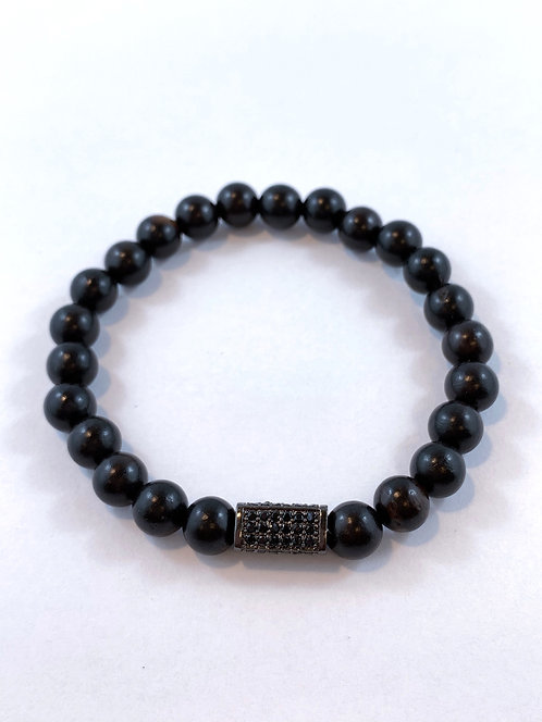 Men's Black Sandlewood Stretch Bracelet   B355-SS