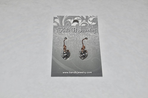 Rose Gold Patina Heart Earrings E011-RG