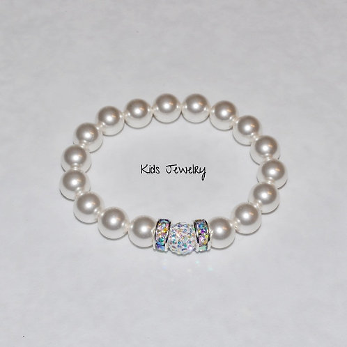 Kids Pearl & Pave' Ball Stretch Bracelet B149-SS