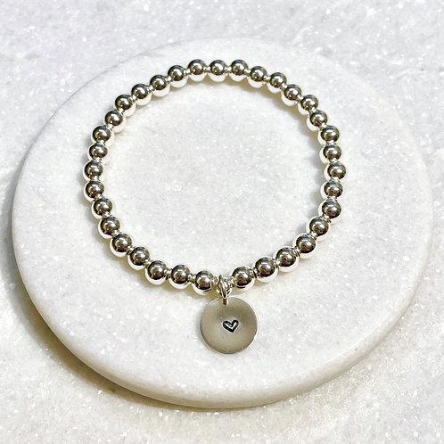 6mm Silver Hematite/Heart Charm Stretch Bracelet B402-SS