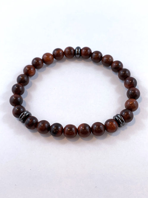 Men's Brown Rosewood Stretch Bracelet   B352-SS