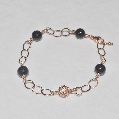 Black Pearl & Rose Gold Pave' Ball Chain Bracelet B034-RG
