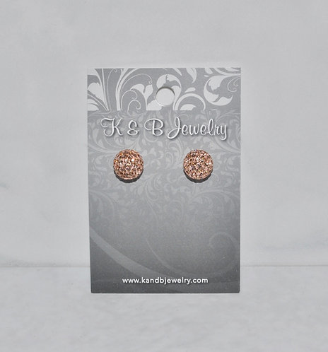 Rose Gold Crystal Pave' Ball Studs