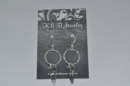 Silver Patina Spike & Circle Earrings  ESB015-SS