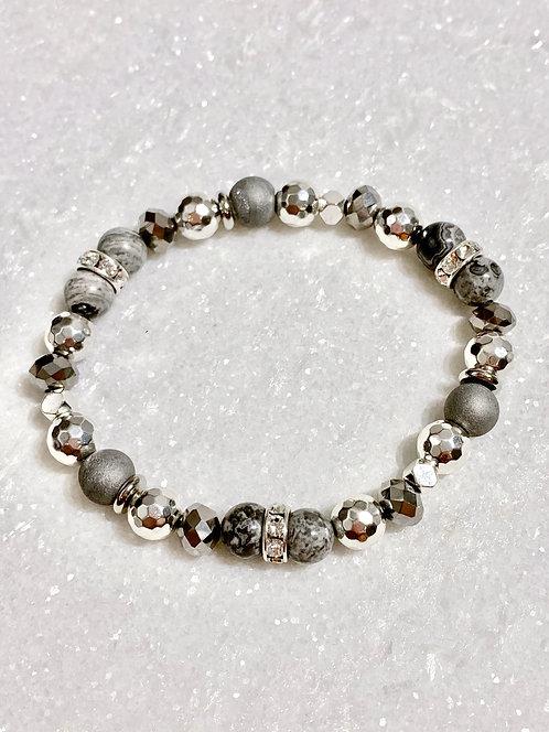 Jasper, Hematite & Druzy Stretch Bracelet B366-SS