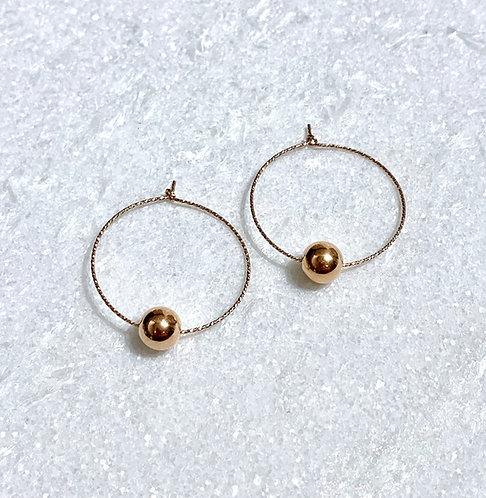 RG Sparkle Hoops/RG Bead Earrings E088-RG