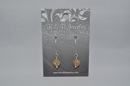 Gold Crystal Pave' Ball Earrings  EM054-SS