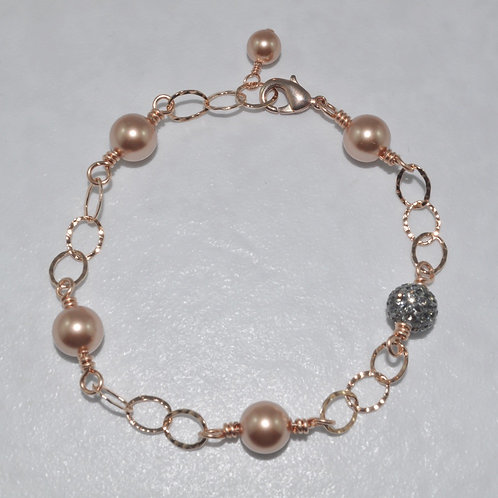 RG Pearl & Black Diamond Pave' Ball Chain Bracelet   B018-RG