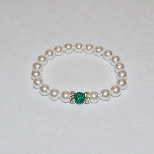 Rider Green Pave' Ball & White Pearl Stretch Bracelet B278-SS