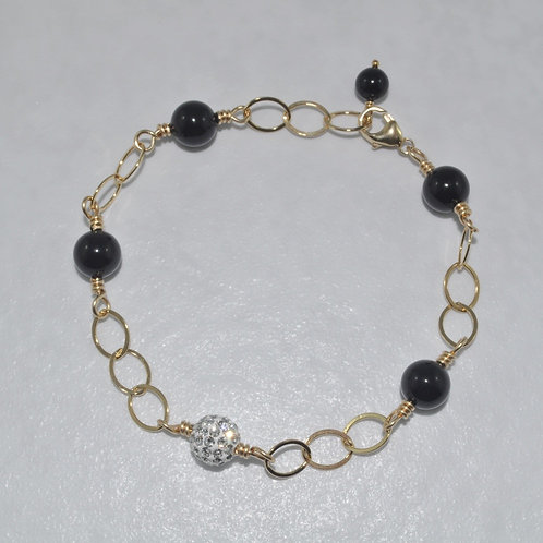 Black Pearl and Crystal Pave' Ball Chain Bracelet  B024-GF