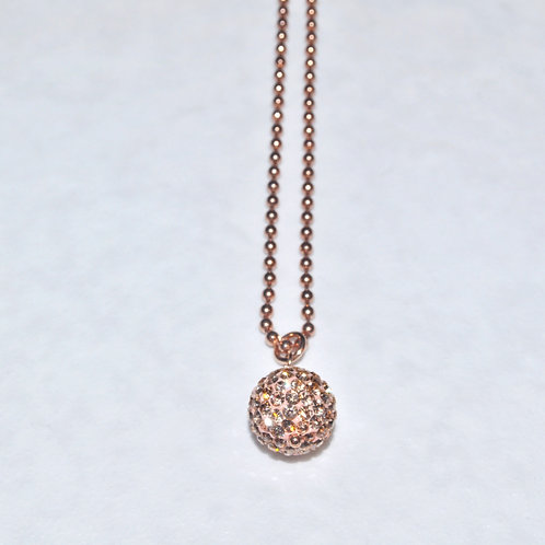 Rose Gold Pave' Ball Necklace NS005-RG