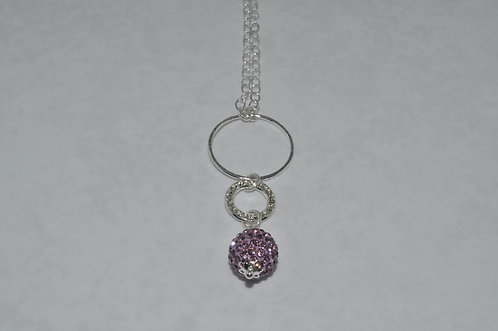 Amethyst Crystal Pave' Ball & Circle Necklace   NL032-SS