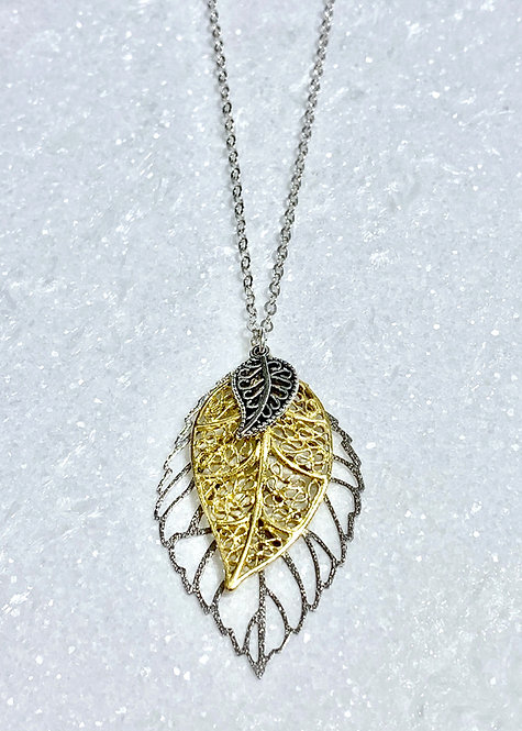 SS Triple Leaf Necklace NL142-SS