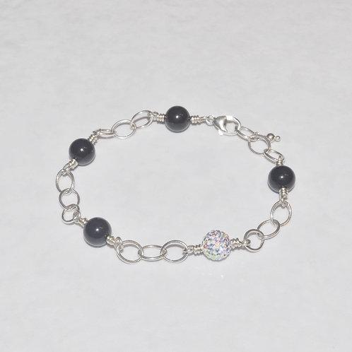 Black Pearl & Aurora Borealis Pave' Ball Chain Bracelet B123-SS
