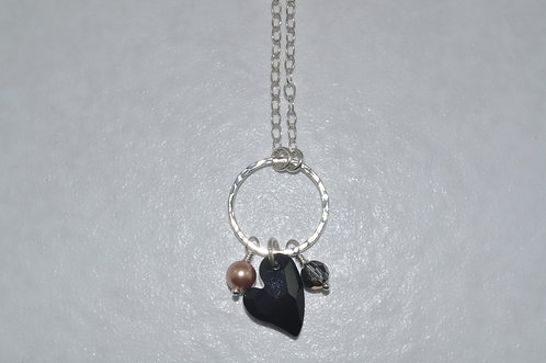 Black Anna Heart Necklace   NL016-SS
