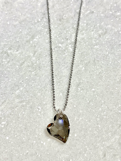 Silver Night Heart Necklace NS166-SS
