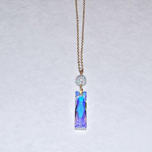 Aurora Borealis Baguette & Pave' Ball Necklace NL038-GF