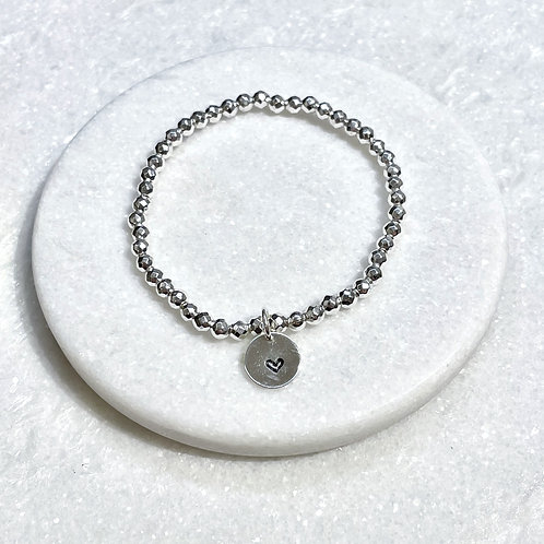 4mm Silver Hematite/Heart Charm Stretch Bracelet B405-SS
