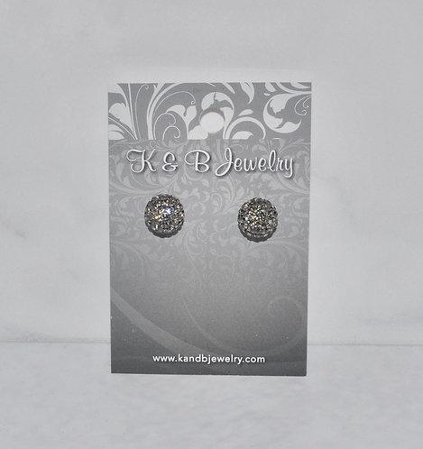 Black Diamond Crystal Pave' Ball Studs