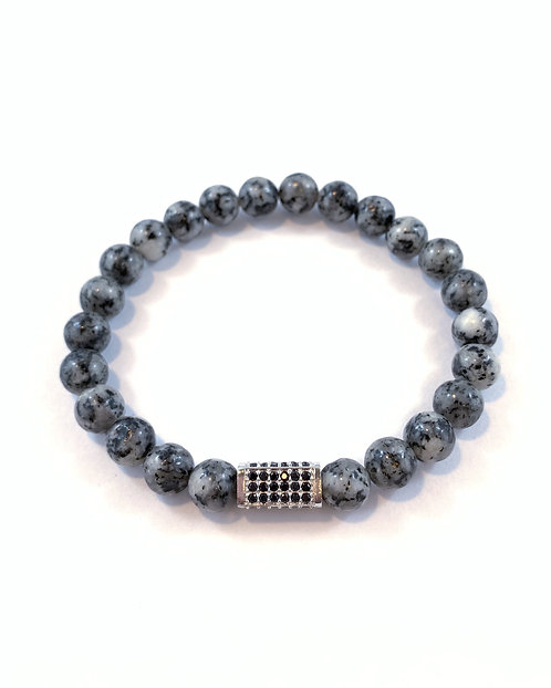 Men's Sesame Jasper Stretch Bracelet B348-SS