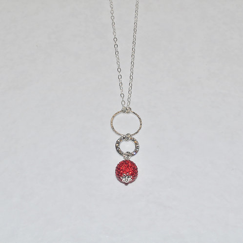 Red Pave' Ball & Circle Necklace NL035-SS