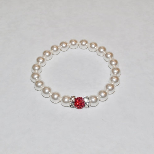 Red Pave' Ball & Pearl Stretch Bracelet B277-SS