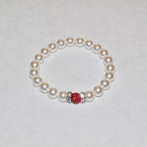 Red Pave' Ball & Pearl Stretch Bracelet B277-SS