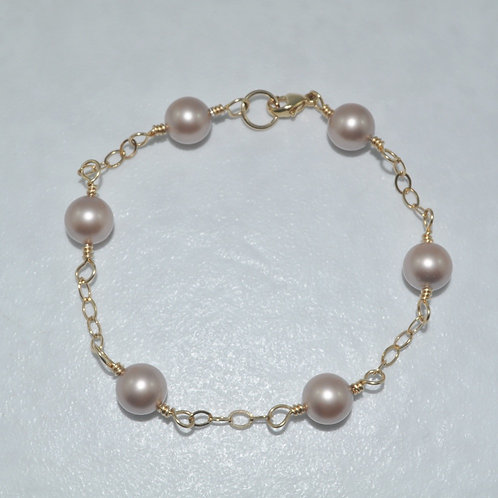 Almond Pearl & Chain Bracelet   B011-GF