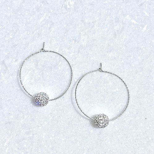 SS Sparkle Hoops/Crystal Pave' Ball Earrings EST-220-SS