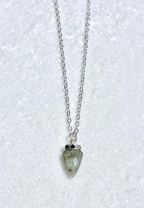 SS Labradorite Mini Arrowhead Necklace NS182-SS