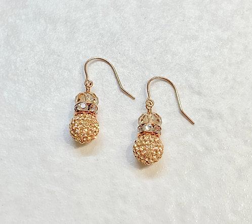 Rose Gold Pave' Ball Drop Earrings  E072-RG