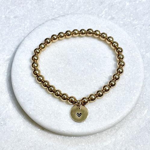 6mm Gold Hematite/Heart Charm Stretch Bracelet B162-GF