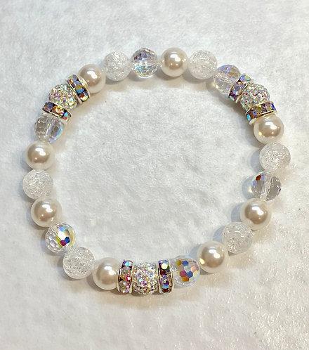 Triple AB Pave' Ball & White Pearl Bracelet B184-SS