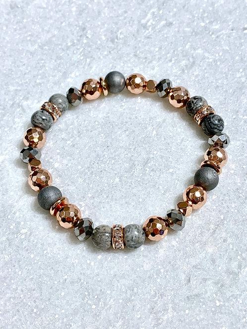 Ocean Jasper & Hematite Stretch Bracelet B089-RG