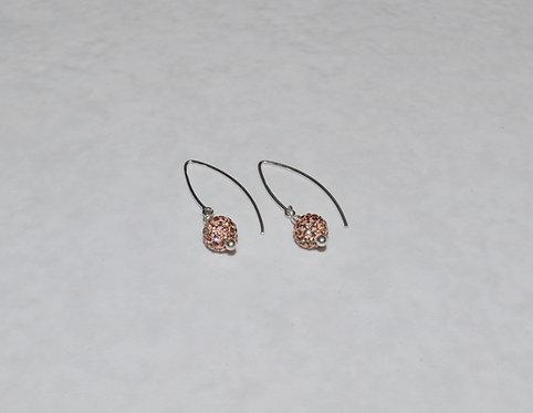 Rose Gold Pave' Ball Earrings EM086-SS