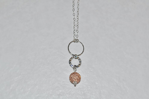 Rose Gold Pave' Ball & Circle Necklace NL019-SS