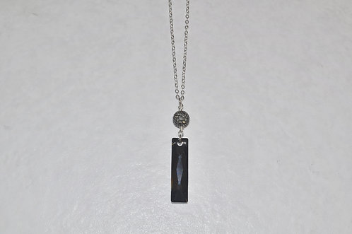 Silver Night Baguette & Pave' Ball Necklace NL112-SS