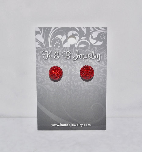 Red Crystal Pave' Ball Studs