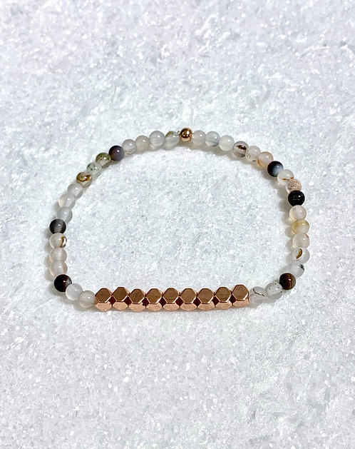 Natural Agate + RG Hematite Stretch Bracelet B088-RG