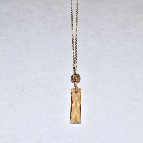 Golden Shadow Baguette & Pave' Ball Necklace NL022-GF