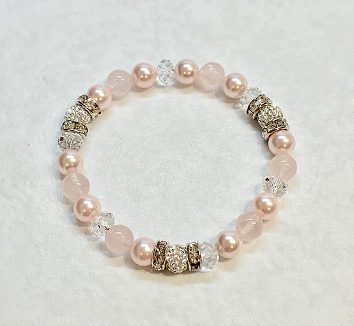 Triple Crystal Pave' Ball & Pink Pearl Bracelet B304-SS